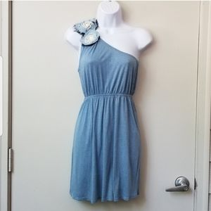 Anthro Needle and Thread One Shoulder Mini Dress